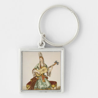 Lady of Quality Playing the Guitar, fashion plate, Key Ring
