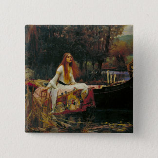 Lady of Shalott in Her Boat 15 Cm Square Badge