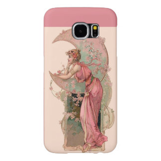 LADY OF THE MOON WITH FLOWERS IN PINK SAMSUNG GALAXY S6 CASES