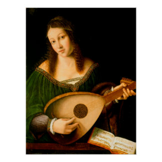 Lady Playing a Lute Fine Art Painting Poster Perfect Poster