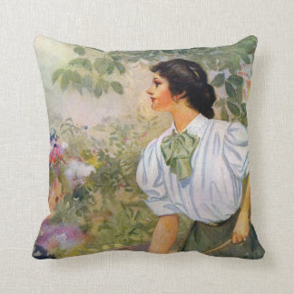 Lady Shoveling Dirt in Flower Bed Throw Pillows