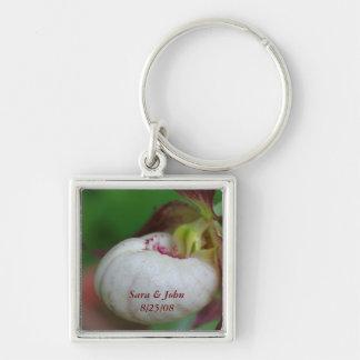 Lady Slipper Flower Wedding Date Keychain
