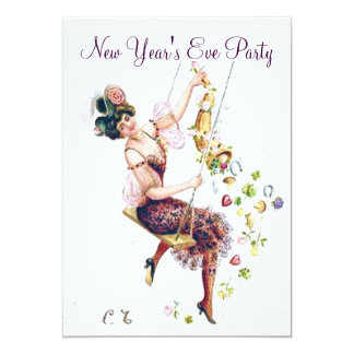Lady Swinging with Good Luck Charms Card