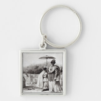 Lady taking child to Baptism Silver-Colored Square Key Ring
