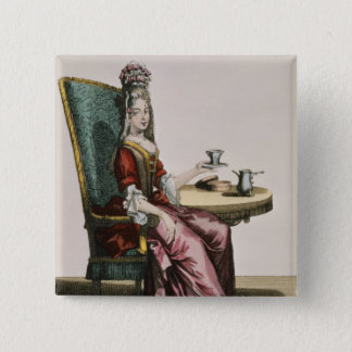 Lady Taking Coffee, fashion plate, c.1695 (engravi 15 Cm Square Badge