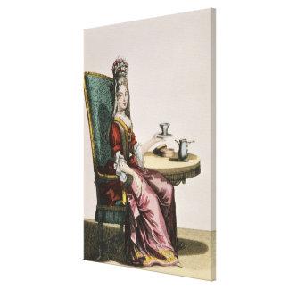 Lady Taking Coffee, fashion plate, c.1695 (engravi Stretched Canvas Prints
