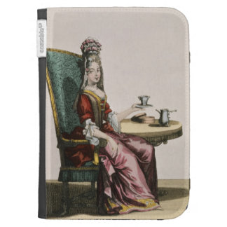 Lady Taking Coffee fashion plate c 1695 engravi Kindle Case