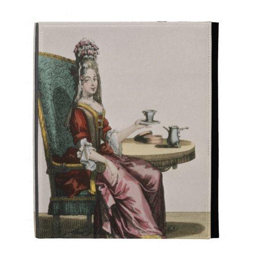 Lady Taking Coffee, fashion plate, c.1695 (engravi iPad Folio Covers