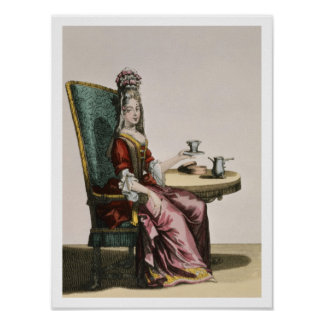 Lady Taking Coffee, fashion plate, c.1695 (engravi Poster