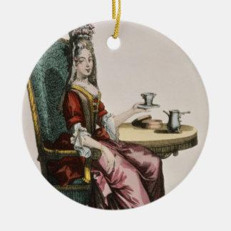 Lady Taking Coffee, fashion plate, c.1695 (engravi Round Ceramic Decoration