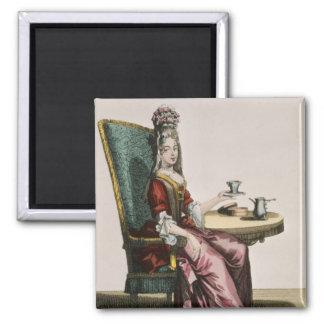 Lady Taking Coffee, fashion plate, c.1695 (engravi Square Magnet