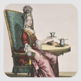 Lady Taking Coffee, fashion plate, c.1695 (engravi Square Sticker