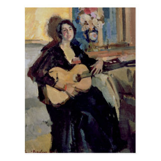 Lady with a Guitar, 1911 Postcard