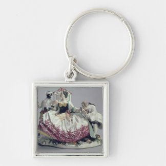 Lady with a lapdog, man and black servant, 1737 key ring