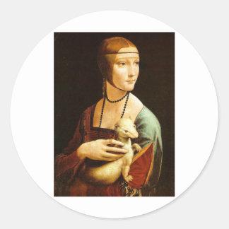 Lady with an Ermine by Leonardo Da Vinci c. 1490 Classic Round Sticker