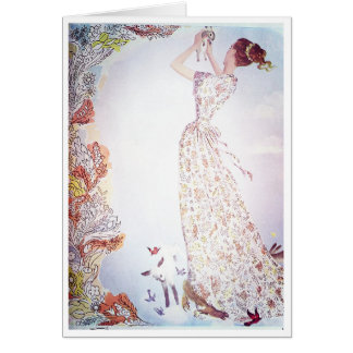 Lady with Animals in the Flowers Greeting Card