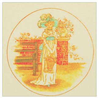 Lady with Basket of Flowers Fabric