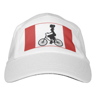 Lady with bicycle oldstyle red knows hat