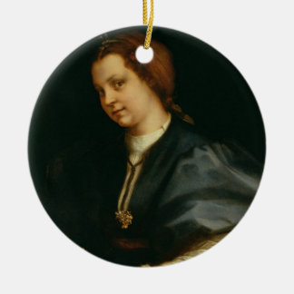 Lady with Book of Verse by Petrarch, c.1514 (oil o Christmas Ornament