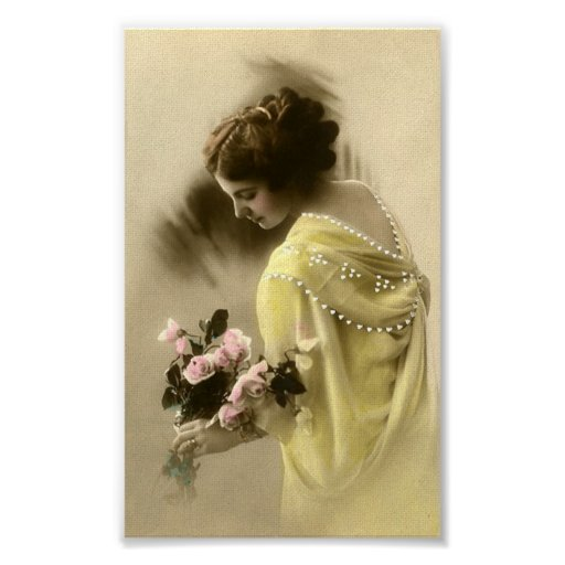 Lady With Flowers Ephemeral Poster