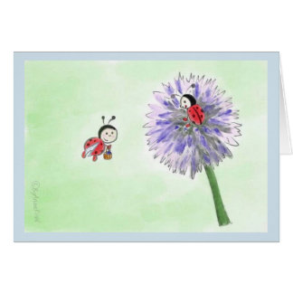 Ladybird flowers greeting map of desires card