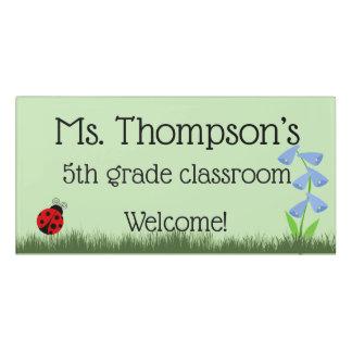 Ladybug And Flowers Personalised Teacher Door Sign