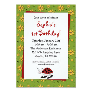 Ladybug Daisies Birthday Party Invitations