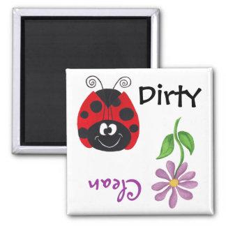 Ladybug Flower Clean Dirty Dishwash Magnet Magnets