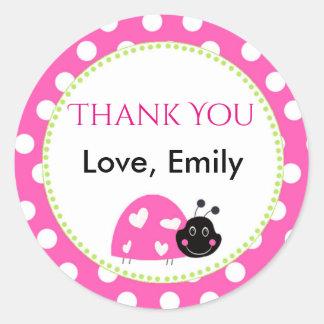 Ladybug Hot Pink Green Gift Favour Label Polka