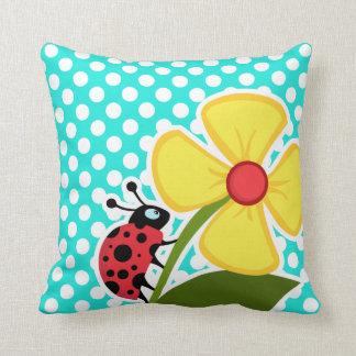 Ladybug on Aqua Color Polka Dots Throw Pillow
