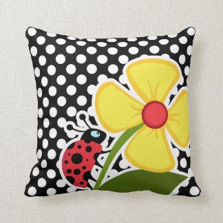 Ladybug on Black and White Polka Dots Cushion