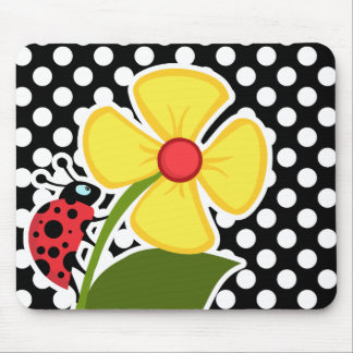 Ladybug on Black and White Polka Dots Mouse Pad
