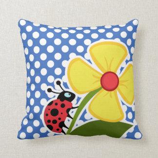 Ladybug on Cerulean Blue Polka Dots Throw Cushions