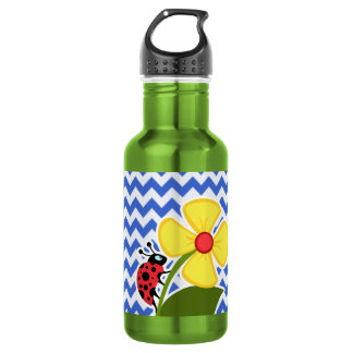 Ladybug on Han Blue Chevron Stripes 532 Ml Water Bottle