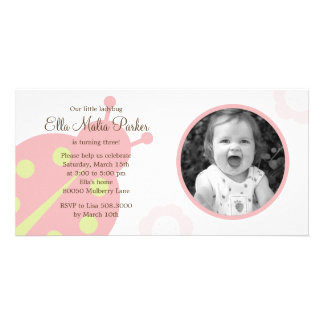 Ladybug Photo Birthday Invitation Photo Card Template