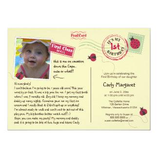 Ladybug Postcard Birthday Party Invitation