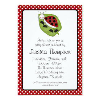 Ladybug Red Polka Dots Girl Baby Shower Card