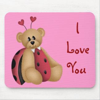 Ladybug Teddy Bear Mousepad - I Love You