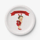 Ladybug Theme Baby Girl Red Dots Paper Plate