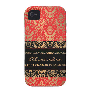 Lady's Lipstick Red Luxury Damask Faux Shimmer Vibe iPhone 4 Cases