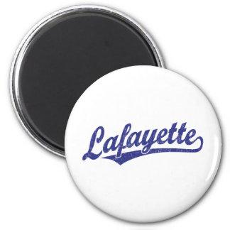 Lafayette script logo in blue distressed magnet