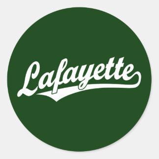 Lafayette script logo in white classic round sticker