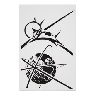 Laika over Earth Black and White Poster
