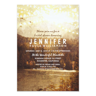 Lake and Mountains Rustic Bridal Shower Card