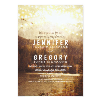 Lake and Mountains Rustic Engagement Party 13 Cm X 18 Cm Invitation Card