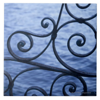 Lake Como, detail, view of walkway iron railing Tile