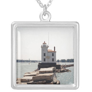 Lake Erie Lighthouse Silver Plated Necklace