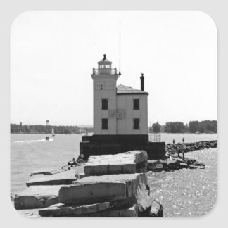 Lake Erie Lighthouse Square Sticker