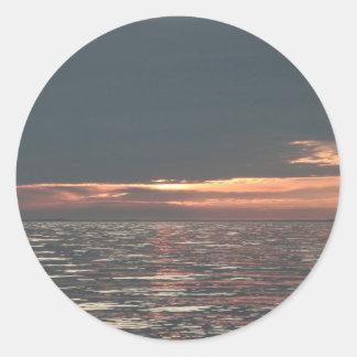 Lake Erie Sunset Classic Round Sticker