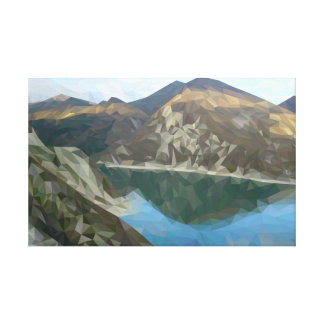 Lake in the mountains in polygon technique canvas print